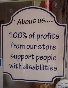 The Bargain Nook supports people with disabilities.